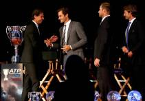 Rafael Nadal is welcomed onto the stage at the No. 1 Celebration by Roger Federer, Andy Roddick and Juan Carlos Ferrero. ©Ella Ling