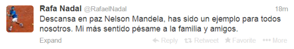 Rafael Nadal On Death Of Nelson Mandela