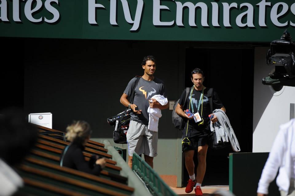 Rafa Nadal en primera sesión de entranamiento en Roland Garros 2014