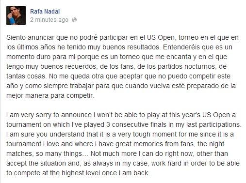 Rafael Nadal to miss US Open