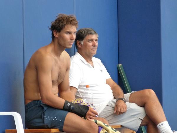 Shirtless Rafael Nadal with Uncle Toni in Manacor