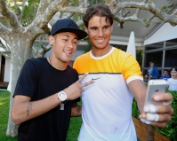 BARCELONA, SPAIN - APRIL 22: Rafael Nadal of Spain takes a selfie with Neymar of FC Barcelona during day three of the Barcelona Open Banc Sabadell at the Real Club de Tenis Barcelona on April 22, 2015 in Barcelona, Spain. (Photo by fotopress/Getty Images)