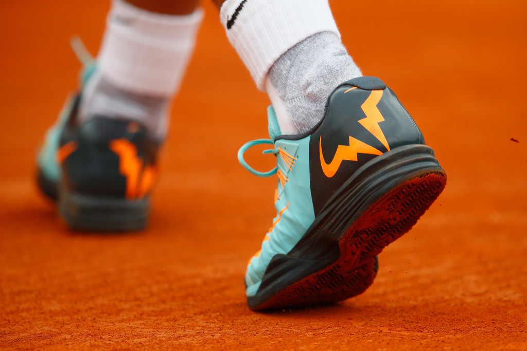 A detail shot of Rafael Nadal of Spain's shoes against John Isner of USA  during day five of the Monte Carlo Rolex Masters tennis at the Monte-Carlo  Sporting ...