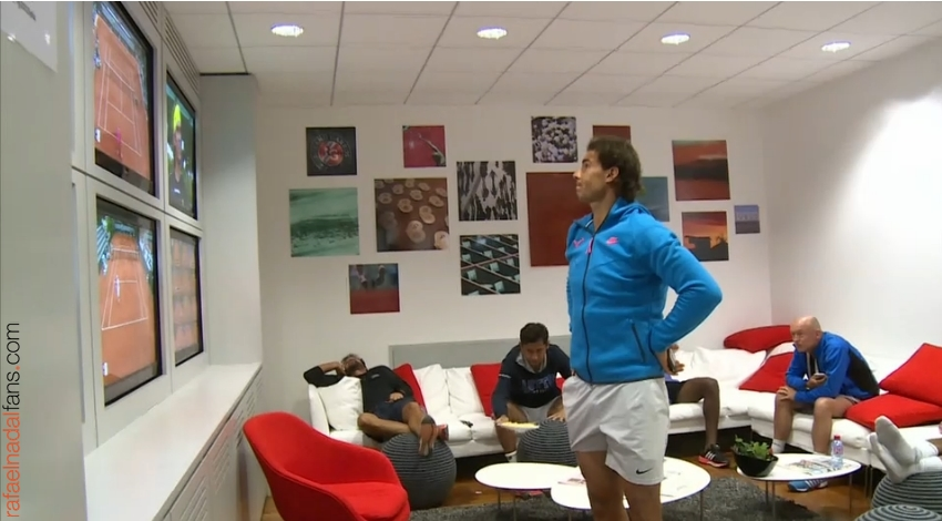 rafael nadal in the locker room before the match roland garros 2015 rafael nadal fans. Black Bedroom Furniture Sets. Home Design Ideas