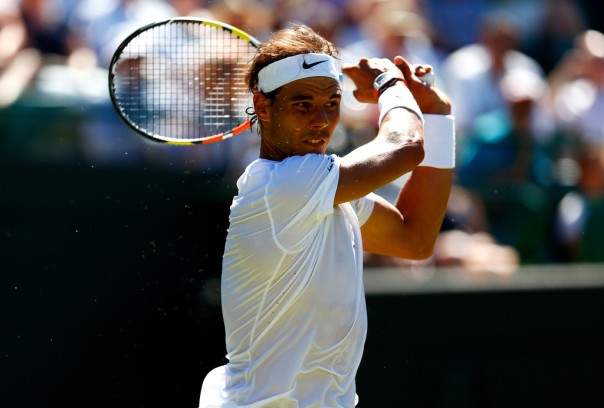 Rafael Nadal of Spain in action in his Gentlemens Singles first round match against Thomaz Bellucci of Brazil during day two of the Wimbledon Lawn Tennis Championships at the All England Lawn Tennis and Croquet Club on June 30, 2015 in London, England. (June 29, 2015 - Source: Julian Finney/Getty Images Europe)