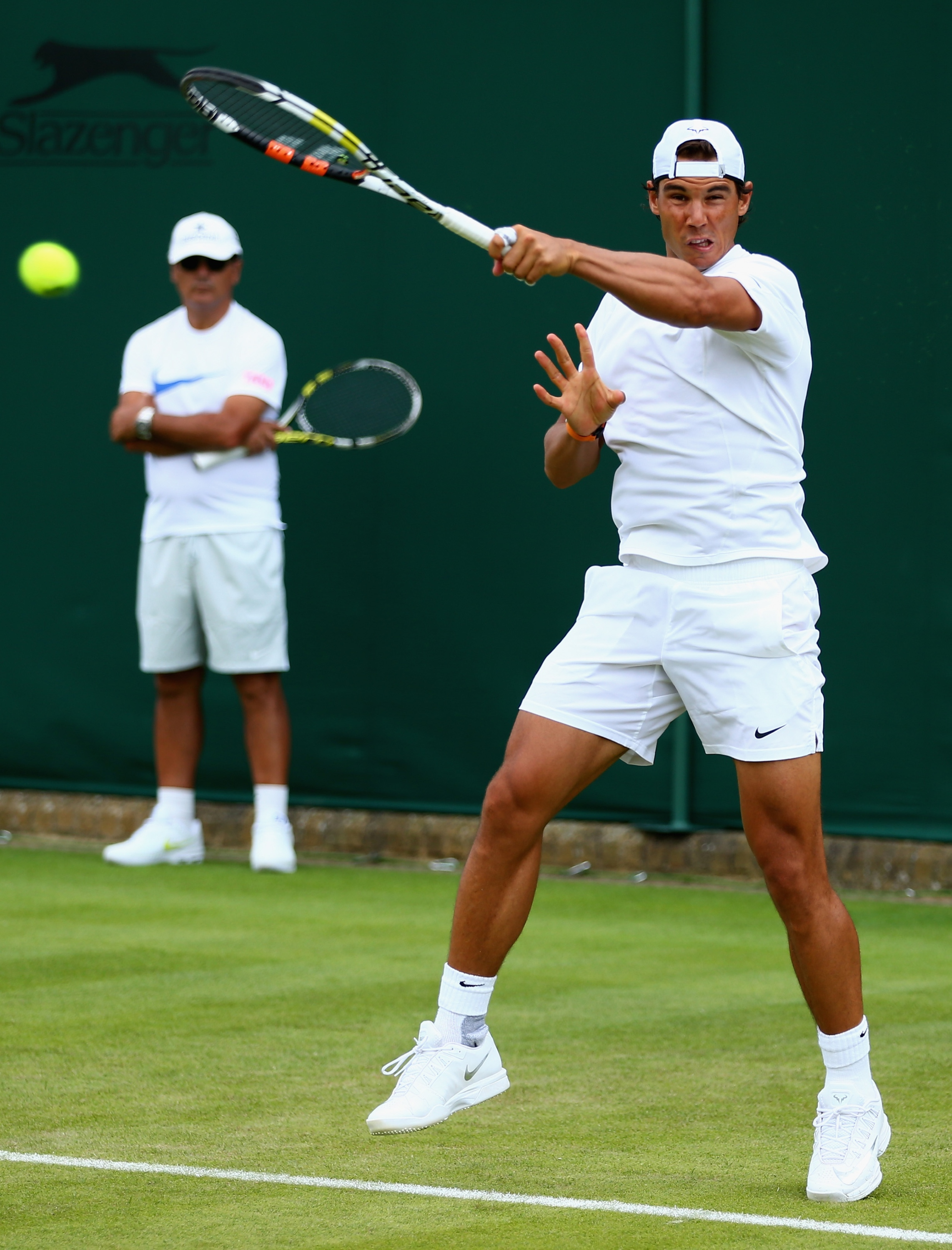 of Spain in action during a practice session prior to the Wimbledon ...