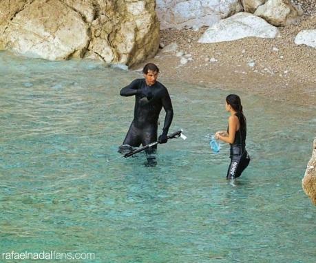 Rafael Nadal and Maria Francisca Perello in the sea