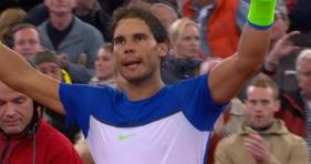 Rafael Nadal celebretes Round 2 victory against Jiri Vesely in Hamburg