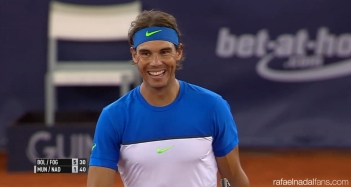 Rafael Nadal playing doubles in Hamburg
