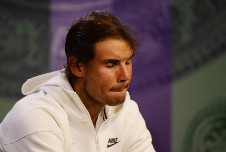 LONDON, ENGLAND - JULY 02: Rafael Nadal of Spain attends a press conference during day four of the Wimbledon Lawn Tennis Championships at the All England Lawn Tennis and Croquet Club on July 2, 2015 in London, England. (Photo by Roger Allen - Pool/AELTC/Getty Images)