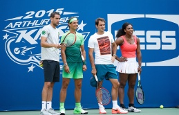Players participate during the 20th Annual Arthur Ashe Kids' Day at USTA Billie Jean King National Tennis Center on August 29, 2015 in the Queens borough of New York City.