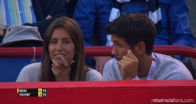 Fernando Verdasco and his girlfriend Ana Boyer cheer on Rafael Nadal at Rogers Cup in Montreal