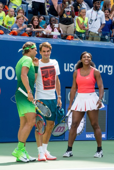 Rafael Nadal, Roger Federer and Sernea Williams attend the 20th Annual Arthur Ashe Kids' Day at USTA Billie Jean King National Tennis Center on August 29, 2015 in the Queens borough of New York City. (Aug. 28, 2015 - Source: Steven Henry/Getty Images North America)