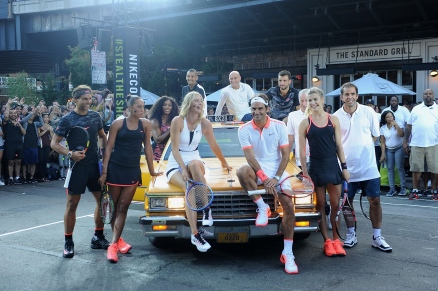 "NEW YORK, NY - AUGUST 24: Tennis Players Rafael Nadal, Serena Williams, Madison Keys, Nick Kyrgios, Maria Sharapova, Pete Sampras, Andre Agassi, Genie Bouchard, Roger Federer, Grigor Dimitrov and John McEnroe attends Nike's ""NYC Street Tennis"" event on August 24, 2015 in New York City. (Photo by Brad Barket/Getty Images)"