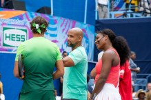 Rafael Nadal, Shaun T and Serena Williams attend the 20th Annual Arthur Ashe Kids' Day at USTA Billie Jean King National Tennis Center on August 29, 2015 in the Queens borough of New York City. (Aug. 28, 2015 - Source: Steven Henry/Getty Images North America)