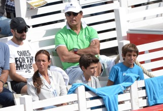 Toni Nadal , second row at right, uncle and coach of Spain's Rafael Nadal watches the semifinal match between Rafael Nadal of Spain and Andreas Seppi of Italy at the ATP tennis tournament in Hamburg, Germany, Saturday Aug. 1, 2015. (Daniel Reinhardt/dpa via AP)