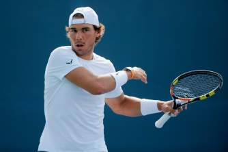 CINCINNATI, OH - AUGUST 17: Rafael Nadal of Spain loosens up before practicing during Day 3 of the Western & Southern Open at the Linder Family Tennis Center on August 17, 2015 in Cincinnati, Ohio. (Photo by Rob Carr/Getty Images)