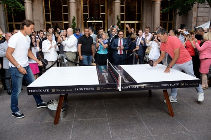 NEW YORK, NY - AUGUST 27: Rafael Nadal (L) and Toni Nadal join The New York Palace for a Courtyard Cocktail Celebration at The New York Palace Hotel on August 27, 2015 in New York City. (Photo by Ben Gabbe/Getty Images for The New York Palace)