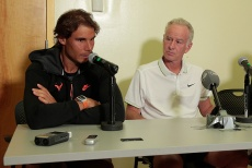 NEW YORK, NY - AUGUST 26: Rafael Nadal and John McEnroe during the Johnny Mac Tennis Project 2015 Sportime press conference at Randall's Island on August 26, 2015 in New York City. (Photo by Randy Brooke/Getty Images)