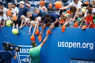 NEW YORK, NY - AUGUST 29: Professional Tennis Player Rafael Nadal participates during the 20th Annual Arthur Ashe Kids' Day at USTA Billie Jean King National Tennis Center on August 29, 2015 in the Queens borough of New York City. (Photo by John Lamparski/WireImage)