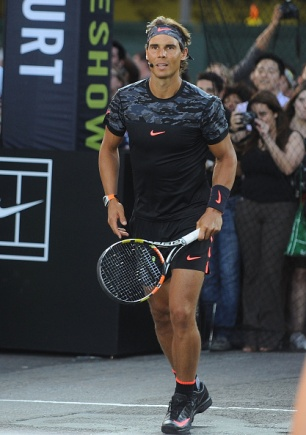 "NEW YORK, NY - AUGUST 24: Tennis player Rafael Nadal attends Nike's ""NYC Street Tennis"" Event on August 24, 2015 in New York City. (Photo by Brad Barket/Getty Images)"