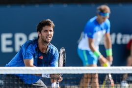 MONTREAL, ON - AUGUST 10: Fernando Verdasco of Spain waits for partner Rafael Nadal of Spain to serve during day one of the Rogers Cup at Uniprix Stadium on August 10, 2015 in Montreal, Quebec, Canada. (Photo by Minas Panagiotakis/Getty Images)