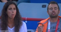 Rafael Nadal girlfriend Maria Francisca Perello and his physio Rafael Maymo eating cookies at Rogers Cup in Montreal