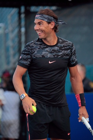 NEW YORK, NY - AUGUST 26: Former World No. 1 Tennis Player Rafael Nadal during the Johnny Mac Tennis Project 2015 Benefit Matches at Randall's Island on August 26, 2015 in New York City. (Photo by Randy Brooke/Getty Images)