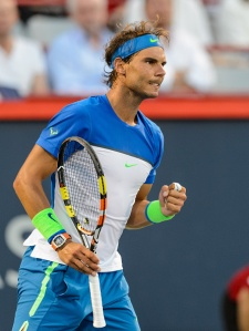 MONTREAL, ON - AUGUST 13: Rafael Nadal of Spain celebrates a point over Mikhail Youzhny of Russia during day four of the Rogers Cup at Uniprix Stadium on August 13, 2015 in Montreal, Quebec, Canada. Rafael Nadal defeated Mikhail Youzhny 6-3, 6-3. (Photo by Minas Panagiotakis/Getty Images)