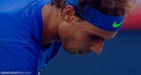 Rafael Nadal in action against Mikhail Youzhny at the Rogers Cup in Montreal R3