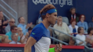 Rafael Nadal in action against Mikhail Youzhny at the Rogers Cup in Montreal