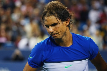 CINCINNATI, OH - AUGUST 20: Rafael Nadal of Spain reacts after losing his match against Feliciano Lopez of Spain during Day 6 of the Western & Southern Open at the Lindner Family Tennis Center on August 20, 2015 in Cincinnati, Ohio. (Photo by Maddie Meyer/Getty Images)