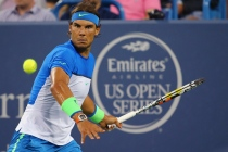 CINCINNATI, OH - AUGUST 20: Rafael Nadal of Spain returns a shot to Feliciano Lopez of Spain during their match on Day 6 of the Western & Southern Open at the Lindner Family Tennis Center on August 20, 2015 in Cincinnati, Ohio. (Photo by Maddie Meyer/Getty Images)