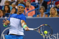 CINCINNATI, OH - AUGUST 20: Rafael Nadal of Spain returns a shot to Feliciano Lopez of Spain on Day 6 of the Western & Southern Open at the Lindner Family Tennis Center on August 20, 2015 in Cincinnati, Ohio. (Photo by Maddie Meyer/Getty Images)