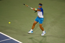 CINCINNATI, OH - AUGUST 19: Rafael Nadal of Spain returns a shot to Jeremy Chardy of France during the Western & Southern Open at the Linder Family Tennis Center on August 19, 2015 in Cincinnati, Ohio. (Photo by Rob Carr/Getty Images)