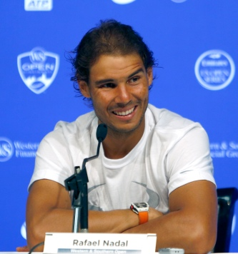 Rafael Nadal, of Spain, answers questions during a press conference at the Western & Southern Open tennis tournament, Monday, Aug. 17, 2015, in Mason, Ohio. (AP Photo/David Kohl)