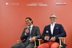 NEW YORK, NY - AUGUST 25: Professional tennis player Rafael Nadal (L) and Tommy Hilfiger speak to each other as Rafael Nadal makes a personal appearance at Macy's Herald Square at on August 25, 2015 in New York City. (Photo by Mike Coppola/Getty Images for Tommy Hilfiger)