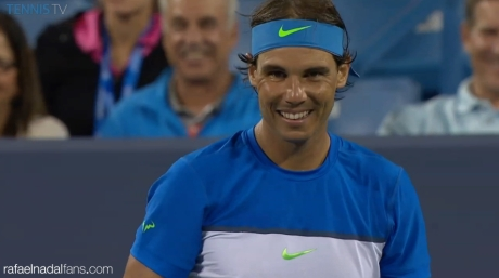 Rafael Nadal's reaction after the ball boy killed a bug that was attacking Chardy in Cincinnati