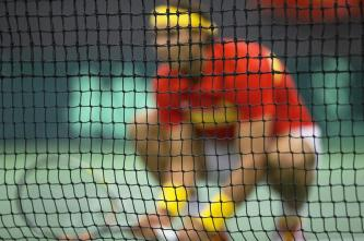 Rafael Nadal of Spain is pictured behind the net during a men's doubles Davis Cup tennis match against Denmark in Odense, Denmark September 19, 2015. REUTERS/Frank Cilius/Scanpix Denmark