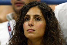 Girlfriend Maria Francisca Perello watches Rafael Nadal of Spain play against Borna Coric of Croatia during their Men's Singles First Round match on Day One of the 2015 US Open at the USTA Billie Jean King National Tennis Center on August 31, 2015 in the Flushing neighborhood of the Queens borough of New York City. (Aug. 30, 2015 - Source: Clive Brunskill/Getty Images North America)