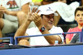 Coach and Uncle Toni Nadal reacts as Rafael Nadal of Spain plays Borna Coric of Croatia during their Men's Singles First Round match on Day One of the 2015 US Open at the USTA Billie Jean King National Tennis Center on August 31, 2015 in the Flushing neighborhood of the Queens borough of New York City. (Aug. 30, 2015 - Source: Clive Brunskill/Getty Images North America)