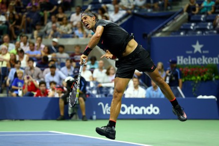 Rafael Nadal of Spain serves against Borna Coric of Croatia during their Men's Singles First Round match on Day One of the 2015 US Open at the USTA Billie Jean King National Tennis Center on August 31, 2015 in the Flushing neighborhood of the Queens borough of New York City. (Aug. 30, 2015 - Source: Clive Brunskill/Getty Images North America)