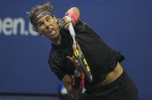 Rafael Nadal of Spain hits a return to Borna Coric of Croatia during their match at the U.S. Open Championships tennis tournament in New York, August 31, 2015. REUTERS/Lucas Jackson