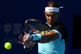 BEIJING, CHINA - OCTOBER 10: Rafael Nadal of Spain plays a forehand in his semi final match against Fabio Fognini of Italy on day 8 of the 2015 China Open at the National Tennis Centre on October 10, 2015 in Beijing, China. (Photo by Chris Hyde/Getty Images)