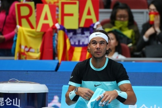 BEIJING, CHINA - OCTOBER 10: Rafael Nadal of Spain looks on during his semi final match against Fabio Fognini of Italy on day 8 of the 2015 China Open at the National Tennis Centre on October 10, 2015 in Beijing, China. (Photo by Chris Hyde/Getty Images)