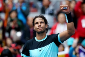 BEIJING, CHINA - OCTOBER 10: Rafael Nadal of Spain celebrates winning his semi final match against Fabio Fognini of Italy on day 8 of the 2015 China Open at the National Tennis Centre on October 10, 2015 in Beijing, China. (Photo by Chris Hyde/Getty Images)