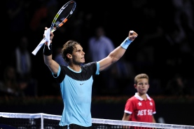 BASEL, SWITZERLAND - OCTOBER 28: Rafael Nadal of Spain celebrates his victory after the second day of the Swiss Indoors ATP 500 tennis tournament against Grigor Dimitrov of Bulgaria at St Jakobshalle on October 28, 2015 in Basel, Switzerland. (Photo by Harold Cunningham/Getty Images)