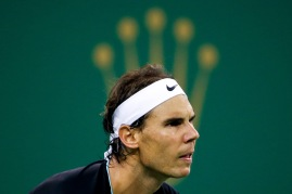 Rafael Nadal of Spain waits for a serve while playing against Ivo Karlovic of Croatia during their men's singles match at the Shanghai Masters tennis tournament in Shanghai, China Wednesday, Oct. 14, 2015. (Chinatopix via AP) CHINA OUT