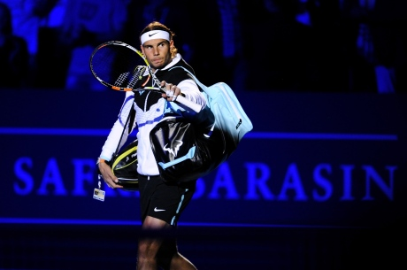 BASEL, SWITZERLAND - OCTOBER 28: Rafael Nadal of Spain arrives on the central court during the second day of the Swiss Indoors ATP 500 tennis tournament for his match against Grigor Dimitrov of Bulgaria at St Jakobshalle on October 28, 2015 in Basel, Switzerland. (Photo by Harold Cunningham/Getty Images)