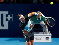 Rafael Nadal of Spain serves a ball against Czech Republic's Lukas Rosol during their match at the Swiss Indoors ATP men's tennis tournament in Basel, Switzerland October 26, 2015. REUTERS/Arnd Wiegmann
